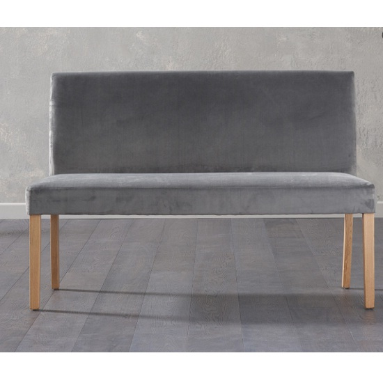 Dining Bench With Back: Birlea Dining Bench Large In Grey Plush Velvet With Back