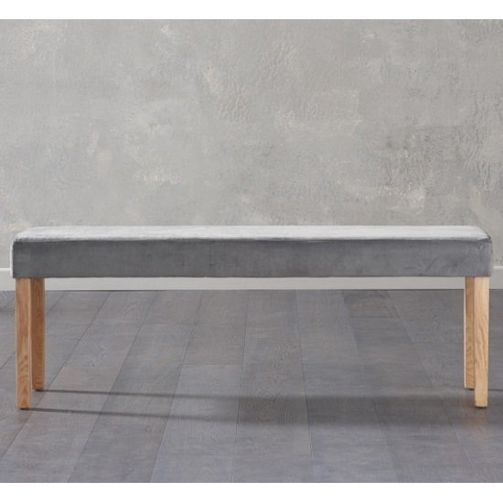 Birlea Dining Bench Large In Grey Plush Velvet And Oak Legs_1