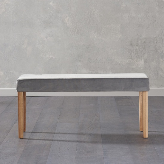 Magnificent Birlea Dining Bench Small In Grey Plush Velvet And Oak Legs Gmtry Best Dining Table And Chair Ideas Images Gmtryco