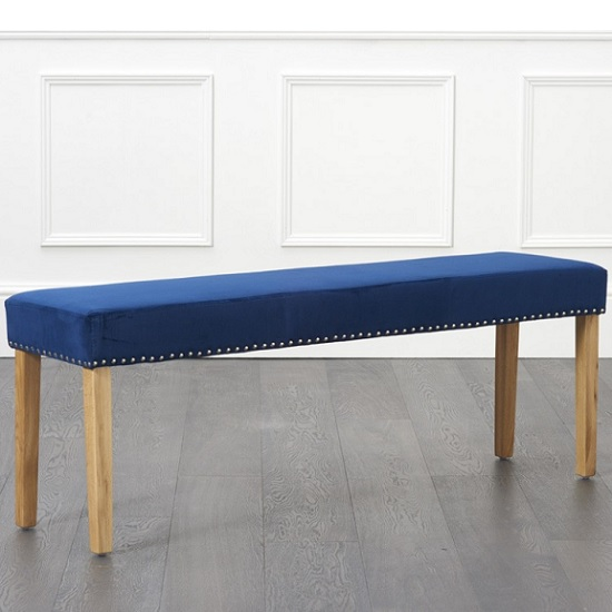 Birlea Studded Dining Bench Large In Blue Plush And Oak Legs