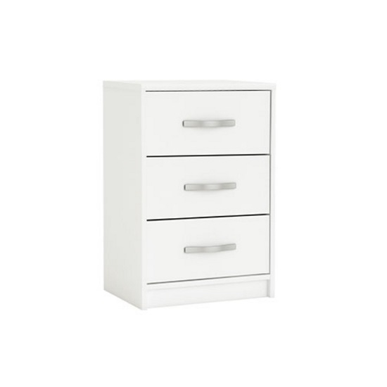 Birlea Wooden Bedside Cabinet In Pearl White With 3 Drawers