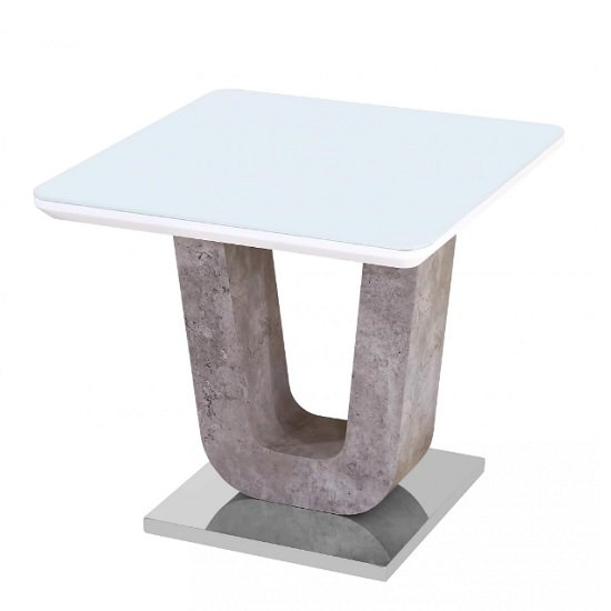 Bisson Glass Lamp Table In White With Stone Effect And Steel