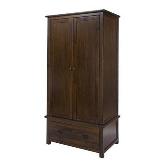 Biston Two Doors Wardrobe In Dark Tinted Lacquer With One Drawer