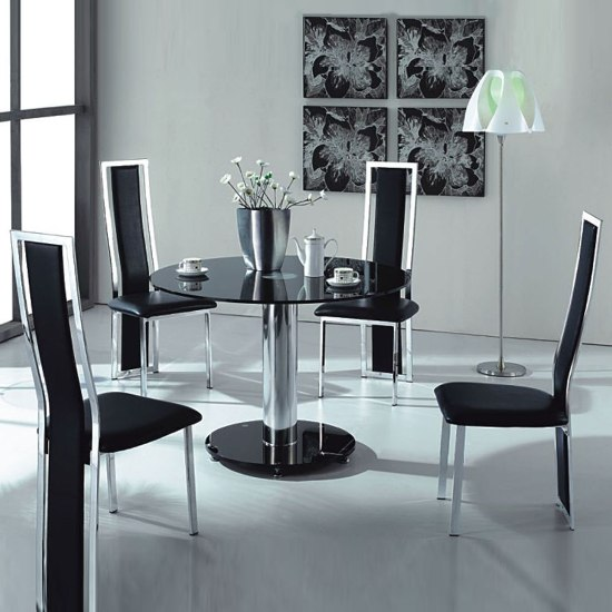 Buy modern glass dining table with 4 chairs for Glass dining table and chairs