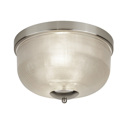 Bistro II 2 Lights Flush Ceiling Light In Satin Silver