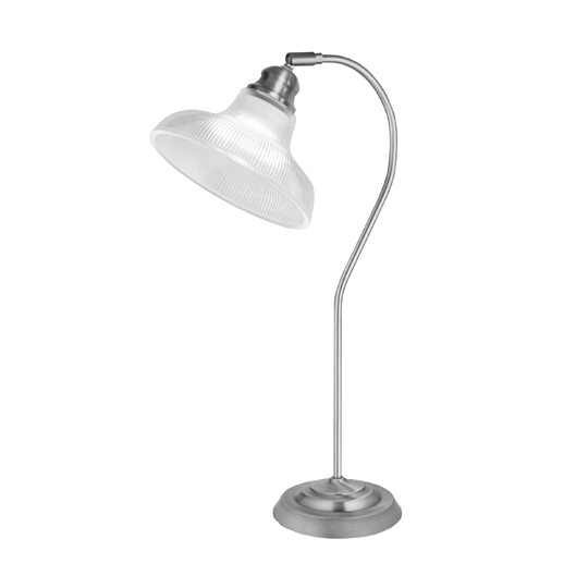 Bistro III Table Lamp In Satin Silver With Halophane Glass
