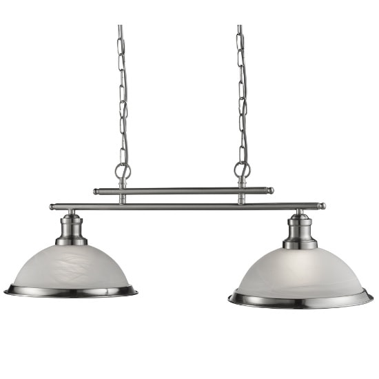 Bistro 2 Light Ceiling Bar In Satin Silver
