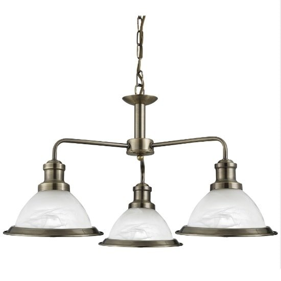 Bistro Ceiling Light In Antique Brass With 3 Lights