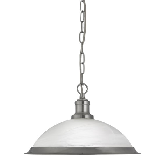 Bistro Pendant Light In Satin Silver With Acid Glass