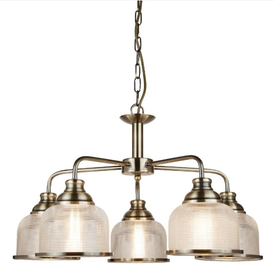 Bistro II 5 Light Ceiling In Antique Brass And Halophane Glass