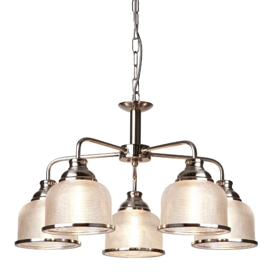 Bistro II 5 Light Ceiling In Satin Silver And Halophane Glass