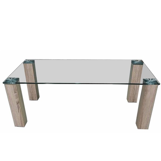 Bizet Glass Coffee Table In Clear With Light Oak Effect Legs