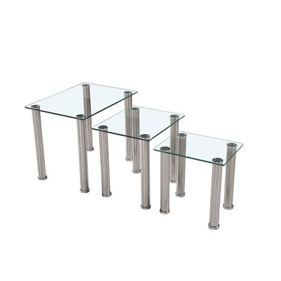 Photo of Bizet glass nest of tables in clear with stainless steel legs