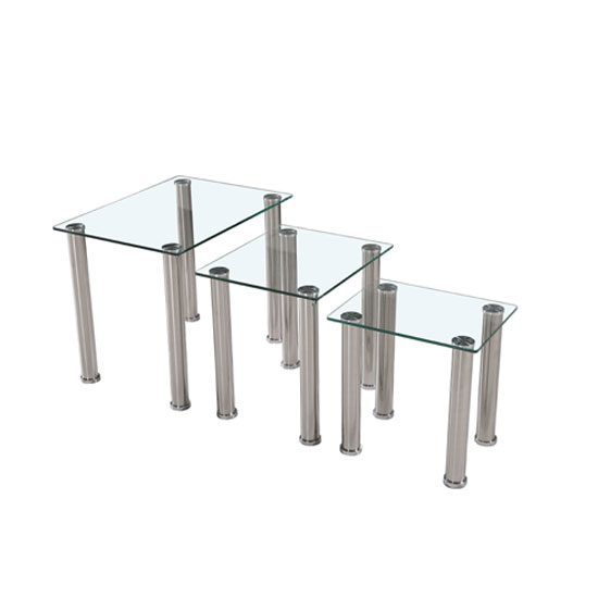 Bizet Glass Nest Of Tables In Clear With Stainless Steel Legs
