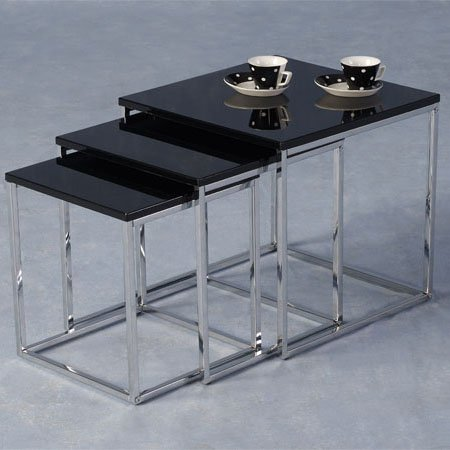 Stefan High Gloss Black Nesting Tables