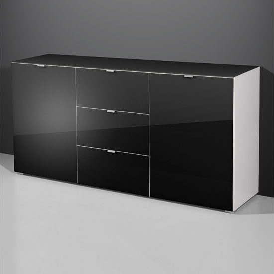 Primera Modern Sideboard In Black Glass