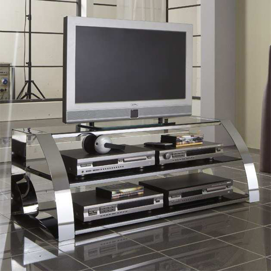 black glass tv stand 97399 - Where To Put Metal TV Stands: Creative Suggestions For Different Interior Types