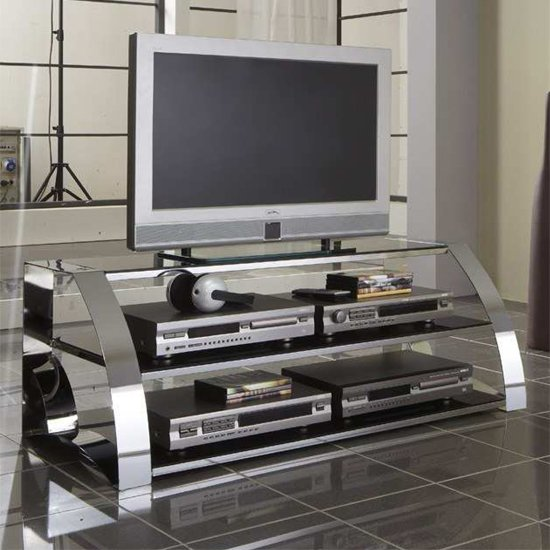 Modena TV Stand In Black Glass And Chrome