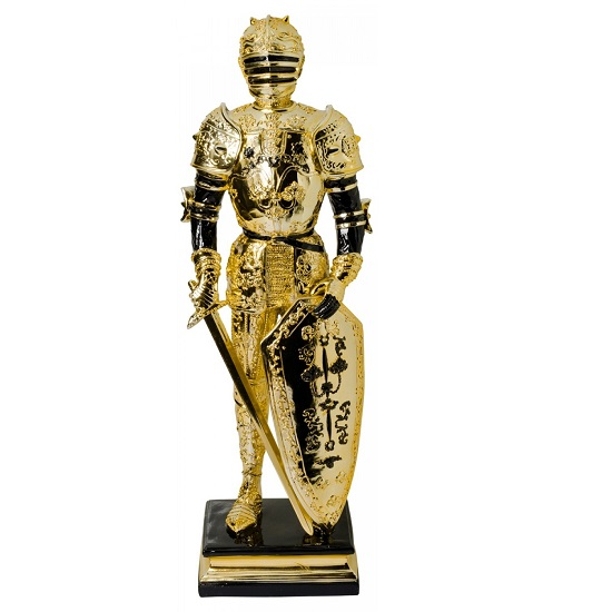 Knight Statue Sculpture In Black And Gold Finish_1