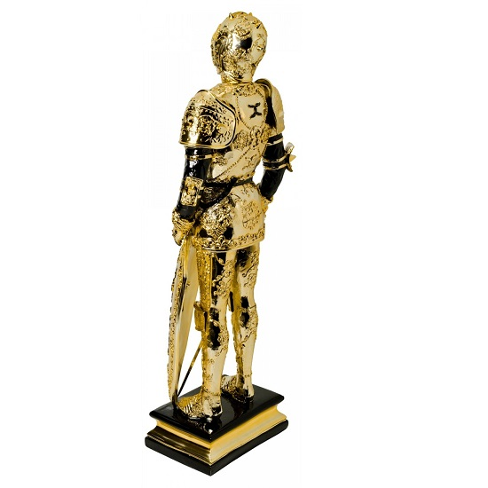 Knight Statue Sculpture In Black And Gold Finish_3