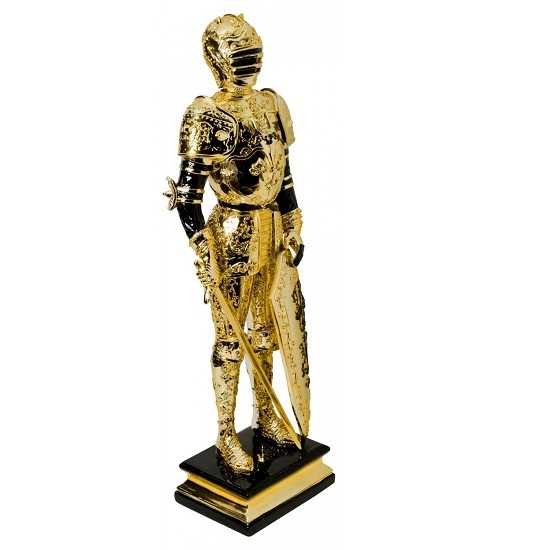 Knight Statue Sculpture In Black And Gold Finish_4