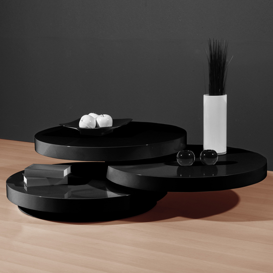 Design Coffee Table Rotating In White High Gloss With 3: Genesis Black High Gloss Round Swiveling Coffee Table 13195