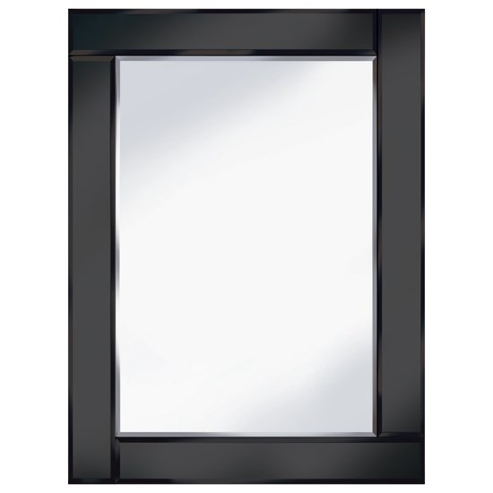 Bevelled black 60x80 rectangle wall mirror 15134 furniture for Mirror 60 x 80