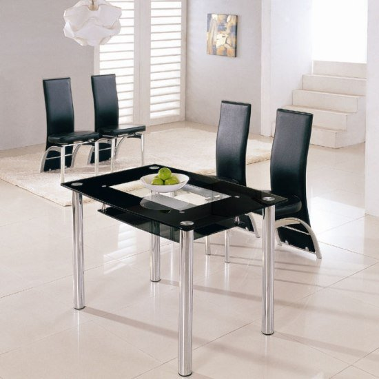 Rimini small dining table with 4 g501 black dining chairs for Small black dining table and chairs