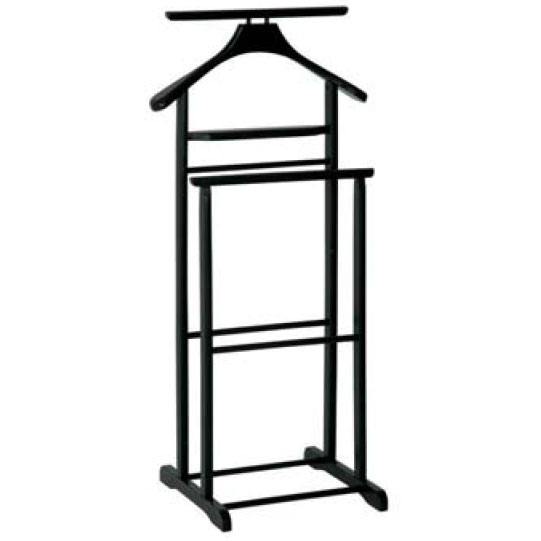 Dual Rail Wooden Valet Stand in Black