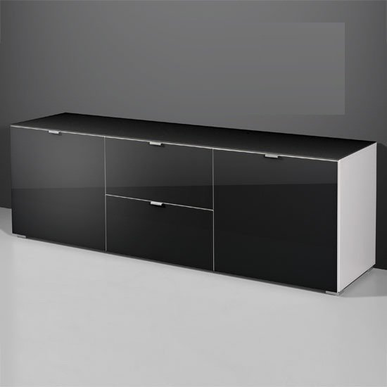 Primera Low Sideboard In Black Glass With 2 Door And 2 Drawer