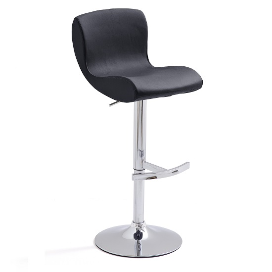 Fresh Bar Stool In Black Faux Leather With Round Chrome Base