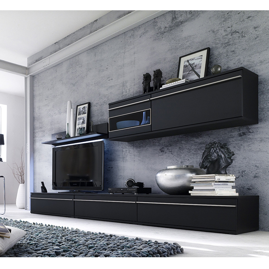 Black Living Room Collection in Matt Black Room Setting 2