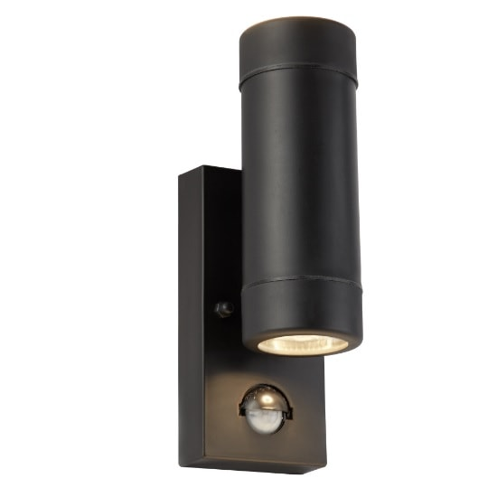 Black Outdoor 2 Lights Cylinder Wall Bracket