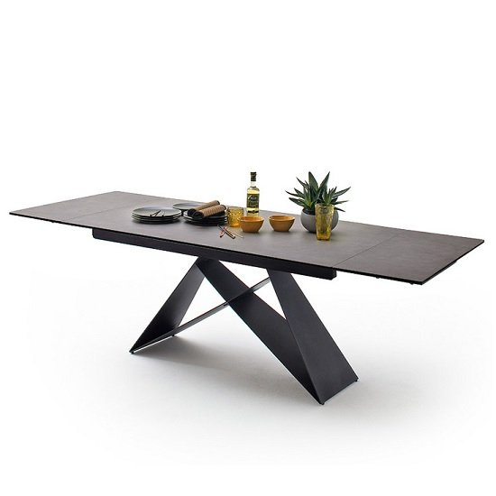 View Blaine glass extendable dining table in anthracite