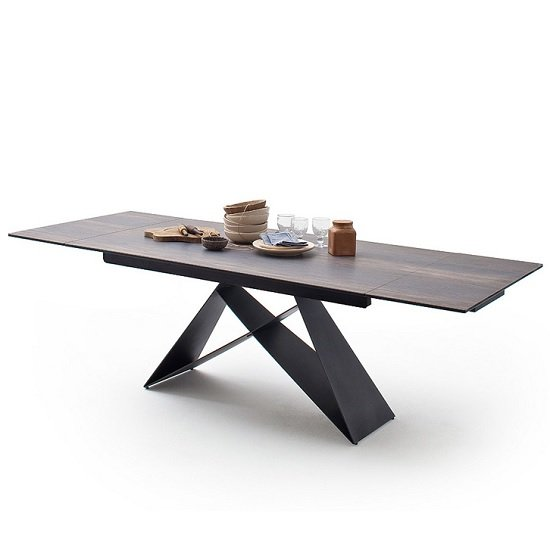 Blaine Glass Extendable Dining Table In Barique Wood Look