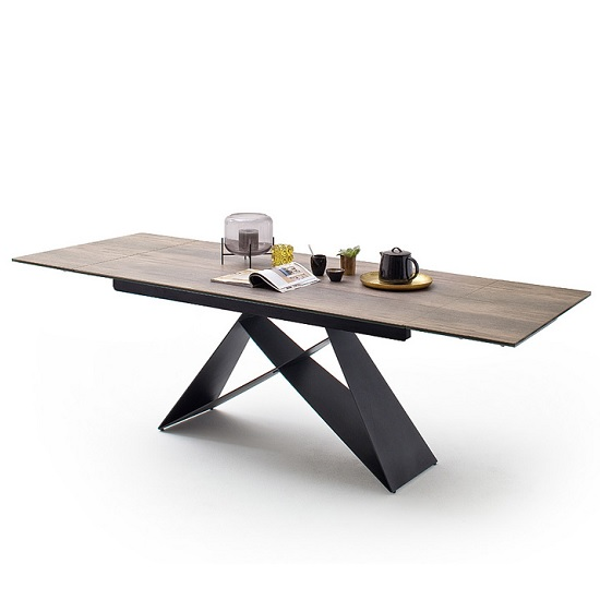 Blaine Glass Extendable Dining Table In Natural Wood Look