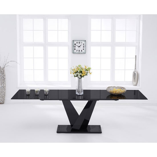 Blaine Extending Glass Dining Table In Black With Metal Base