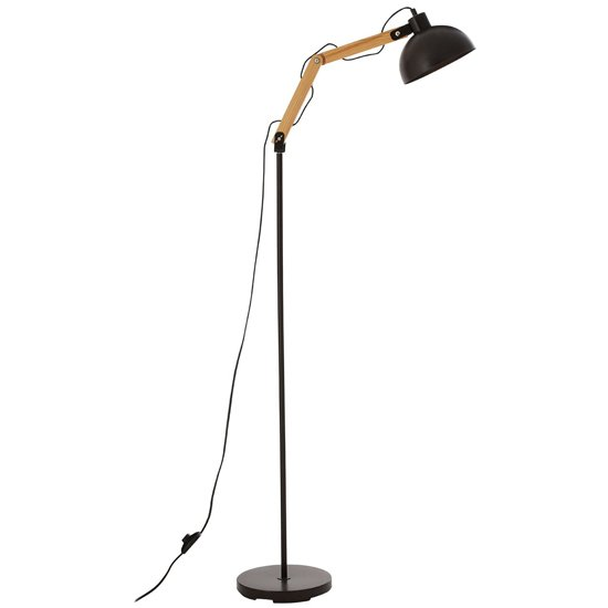 Blairon Glossy Black Shade Floor Lamp With Metal Stalk