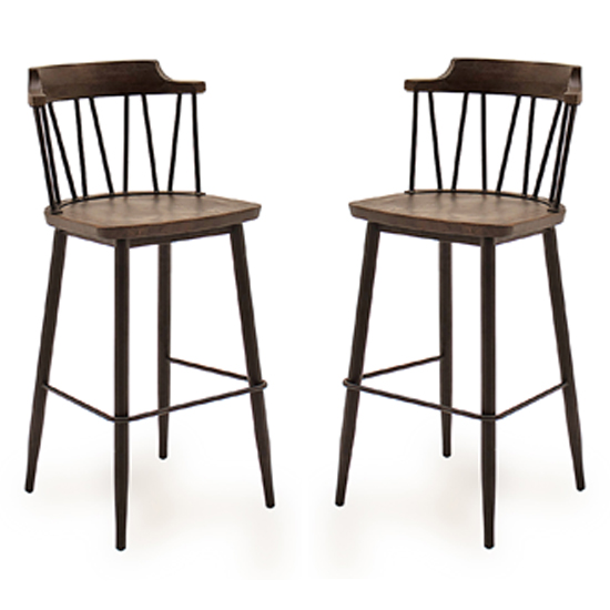 Blake Rustic Elm Wooden Bar Chair In Pair With Steel Legs