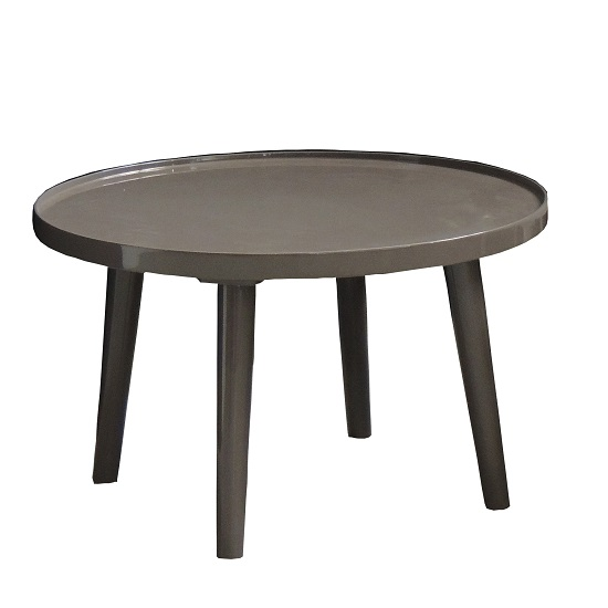 Blake Contemporary Coffee Table Round In Shiny Grey