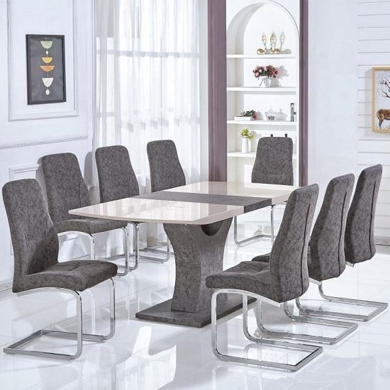 Blanca Extendable Dining Set In High Gloss Cream With 6 Chairs