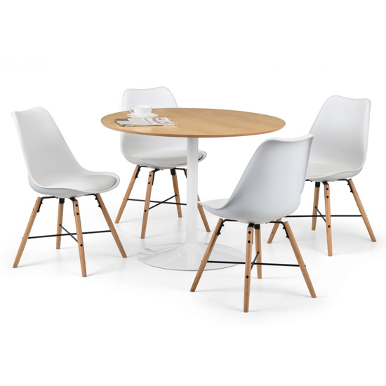 Blanco Dining Set In White And Oak With 4 Kari White Chairs_2