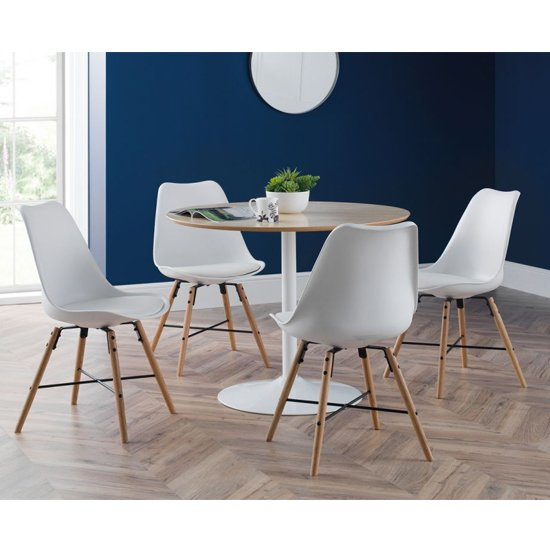 Blanco Dining Set In White And Oak With 4 Kari White Chairs_1