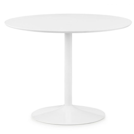 Blanco Round Dining Set In White With 4 Kari White Chairs_2