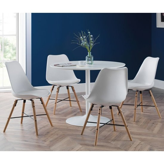 Blanco Round Dining Set In White With 4 Kari White Chairs_1