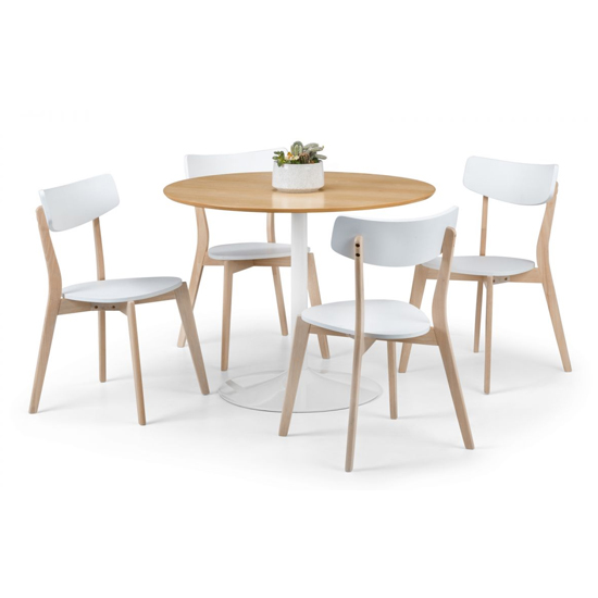 Blanco Round Wooden Dining Table In Oak And White_2