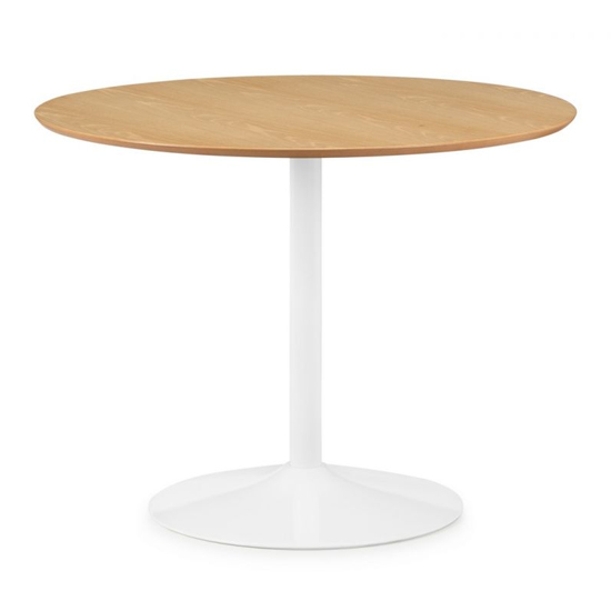 Blanco Round Wooden Dining Table In Oak And White