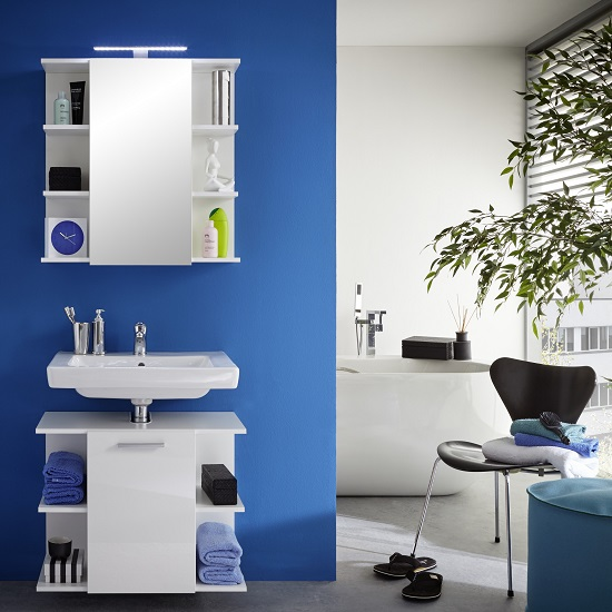 Blanco Bathroom Set In White With High Gloss Fronts And LED