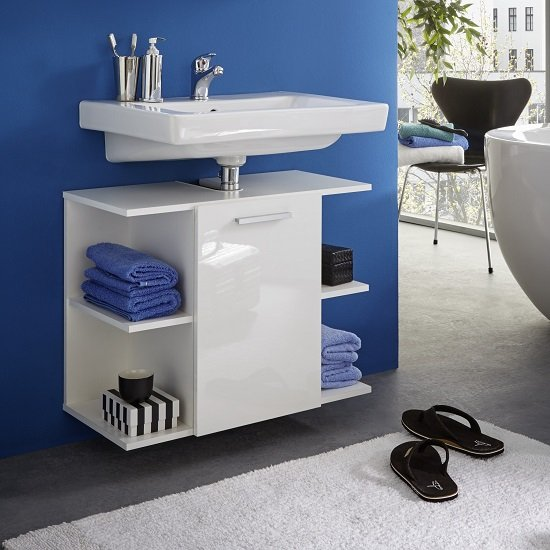 Blanco Wall Mounted Vanity Cabinet In White And High Gloss Front