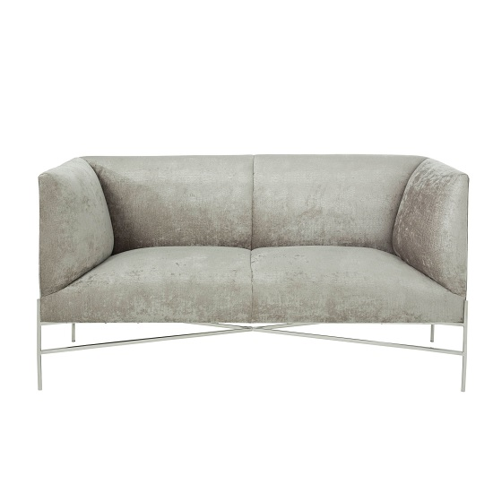Blaze Fabric 2 Seater Sofa In Slate And Polished Stainless Steel_2